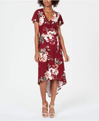 BCX Juniors' Floral High-Low Wrap Dress