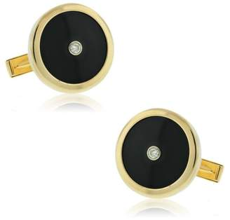 Estate 14k Yellow Gold Onyx And Diamond Cufflinks