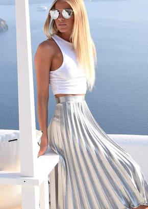 51448c45cab5 Missy Empire Missyempire Kati Silver Pleated Midi Skirt