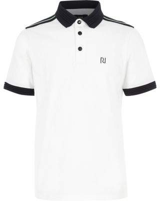 River Island Boys white contrast stripe polo shirt