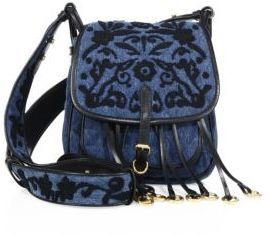 pradaPrada Bandoliera Floral-Embroidered Denim Shoulder Bag
