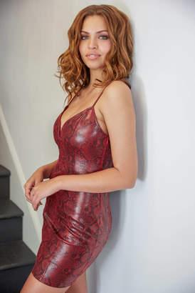 Astr Bodycon Snake Print Mini Dress Red Multi XS
