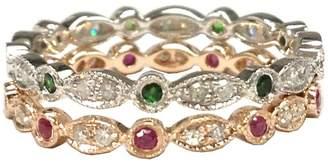 LOGR-Ring Sets Art Deco Ruby Emerald Engagement Wedding Diamond Band Set 14K Rose/White Gold