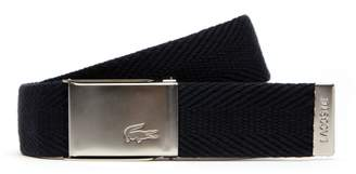 Lacoste Men's Made in France Edition Engraved Buckle Woven Belt Gift Set
