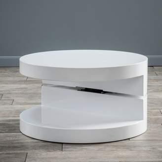 Noble House Maynard Small Circular Mod Rotatable Coffee Table, Glossy White