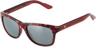 Gucci Square Havana Plastic Sunglasses w/ Web Arms, Brown/Red