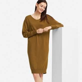 Uniqlo WOMEN Merino Blended V Neck Long Sleeve Dress