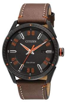 Citizen Drive Ion-Plated Stainless Steel and Leather Strap Watch