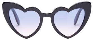 Saint Laurent Loulou Heart Shaped Sunglasses - Womens - Purple
