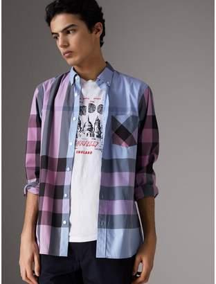 Burberry Button-down Collar Check Stretch Cotton Blend Shirt , Size: XXXL, Blue