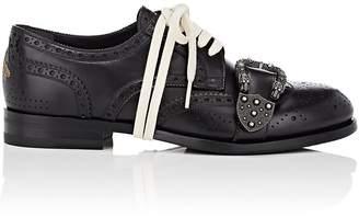 Gucci Men's Buckle-Strap Leather Wingtip Bluchers
