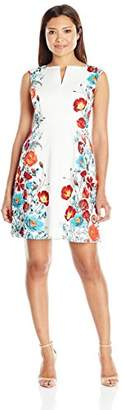 Adrianna Papell Women's Petite Printed Jacquard Fit and Flare
