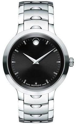 Movado 40mm Luno Sport Stainless Steel Watch, Black/Silver $895 thestylecure.com