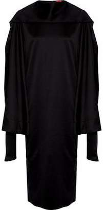 SOLACE London Aubry Cape-Effect Satin Midi Dress