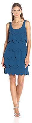 Julia Jordan Women's Sleeveless Laser Cut Tiered Fit and Flair Stretch Crepe Dress $50.46 thestylecure.com