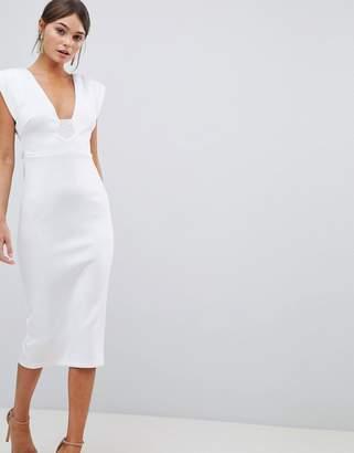 Asos Design DESIGN premium deep plunge tassel back midi dress c3f4ceb40
