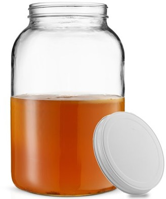 clear Shopokus ShopoKus 1-Gallon Glass Jar Wide Mouth with Airtight Metal Lid - USDA Approved BPA-Free Dishwasher Safe Mason Jar for Fermenting, Kombucha, Kefir, Storing and Canning Uses,