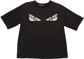 Fendi Rubber Logo Print Cotton Jersey T-Shirt