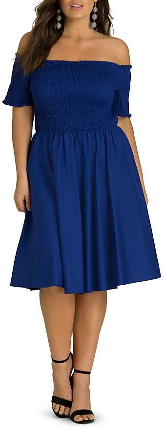 Plus Smocked Off-the-Shoulder Fit-and-Flare Dress