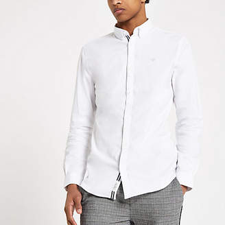 River Island White muscle fit wasp embroidered shirt