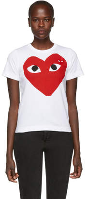 Comme des Garcons White Double Large Heart T-Shirt