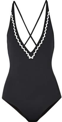 Marysia Swim Tuscany Rickrack-trimmed Halterneck Swimsuit - Black