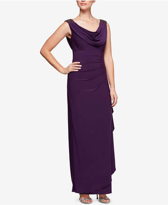 Alex Evenings Embellished Draped Cowl-Neck Gown