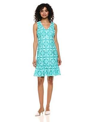 Trina Turk Trina Women's Carpinteria Sleeveless V Neck Drop Flounce Dress