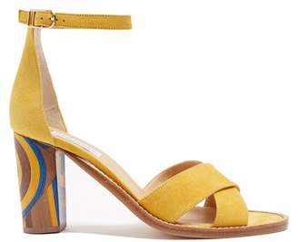Gabriela Hearst - John Psychedelic Print Heel Suede Sandals - Womens - Yellow Multi