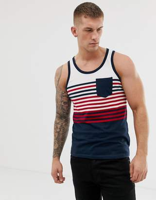 Brave Soul Solid Top Tank With Stripes