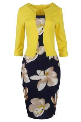 Babyonlinedress Women Wear to Work Business Party Bodycon One-Piece Dress (Yellow,2XL)