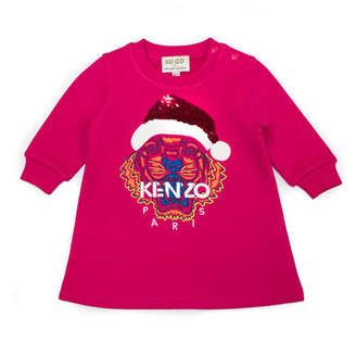Kenzo Flip Sequin Santa Tiger Sweatshirt Dress, Size 6-18 Months