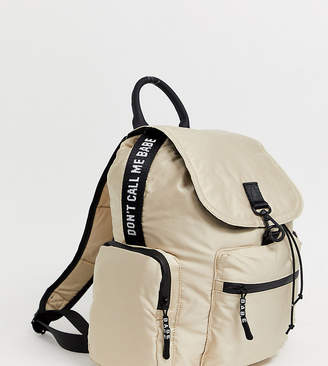 Bershka zip detail backpack in beige