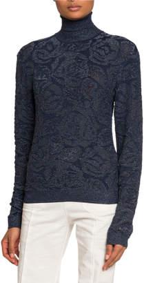Chloé Shimmer Floral Jacquard Turtleneck Sweater
