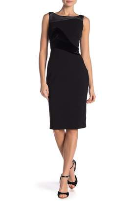Calvin Klein Sheath Velvet Sleeveless Dress
