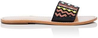 Barneys New York Women's Beaded Leather Slide Sandals