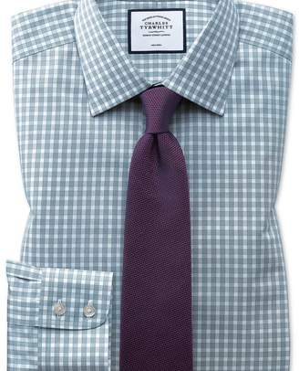 Charles Tyrwhitt Classic fit non-iron twill gingham teal shirt