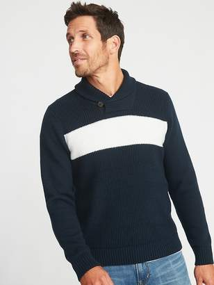 Old Navy Shawl-Collar Chest-Stripe Sweater for Men