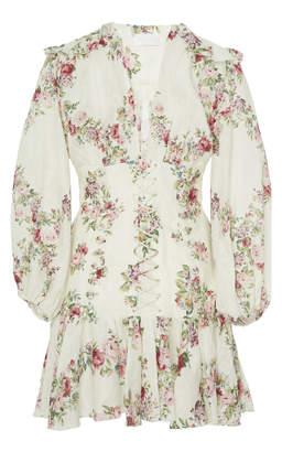 Zimmermann Honour Floral-Print Linen Mini Dress