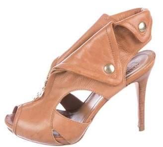 Alexander McQueen Leather Peep-Toe Pumps