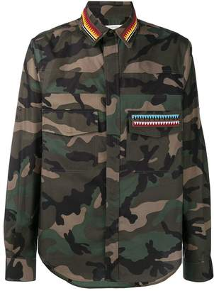 Valentino embroidered camouflage shirt