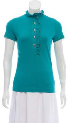 Tory Burch Button-Accented Short Sleeve Top