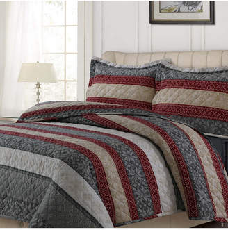 Tribeca Living Alpine Knit Cotton Flannel Printed Oversized Queen Quilt Set