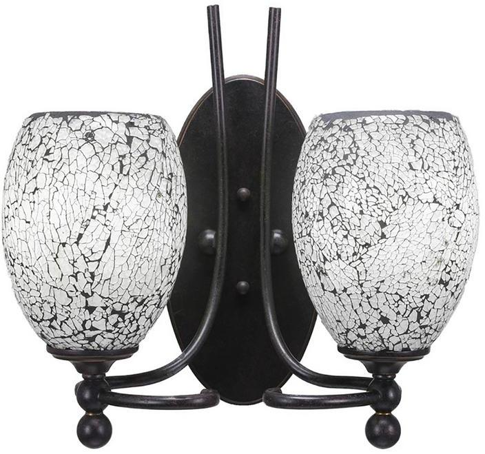 Cambridge SilversmithsCambridge 2-Light Dark Granite Sconce with Black Marbleized Glass
