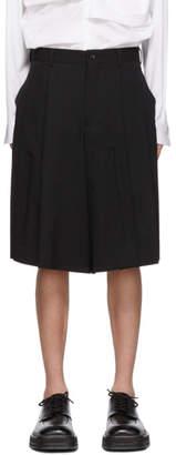 Comme des Garcons Black Wool Gabardine Shorts