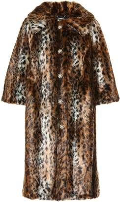 Erdem Embellished faux fur coat