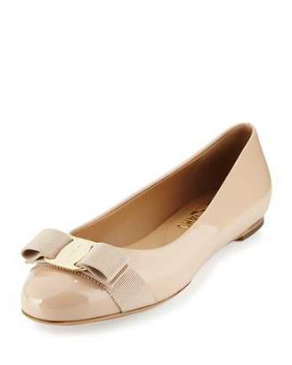 Salvatore Ferragamo Varina Patent Leather Bow Flat, New Bisque $525 thestylecure.com