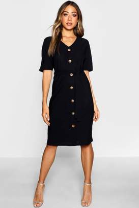 boohoo Tie Waist Horn Button Midi Dress