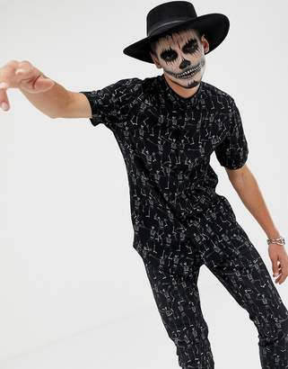 Asos DESIGN Co -ord halloween regular skeleton print shirt in black