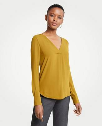 Ann Taylor Petite Mixed Media Pleat Front Top